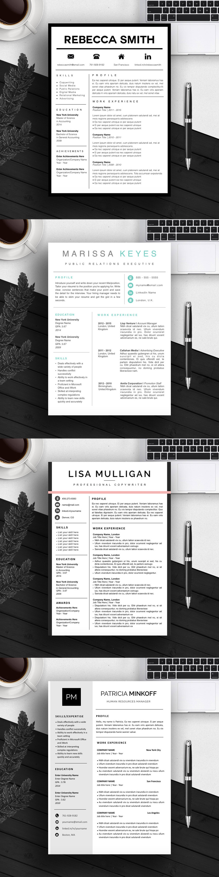 Professional and Clean / Resume CV Design / Cover Letter Template ...
