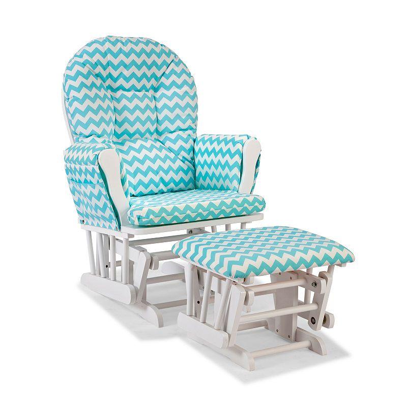 Enjoyable Storkcraft Hoop Glider And Ottoman White W Turquoise Machost Co Dining Chair Design Ideas Machostcouk