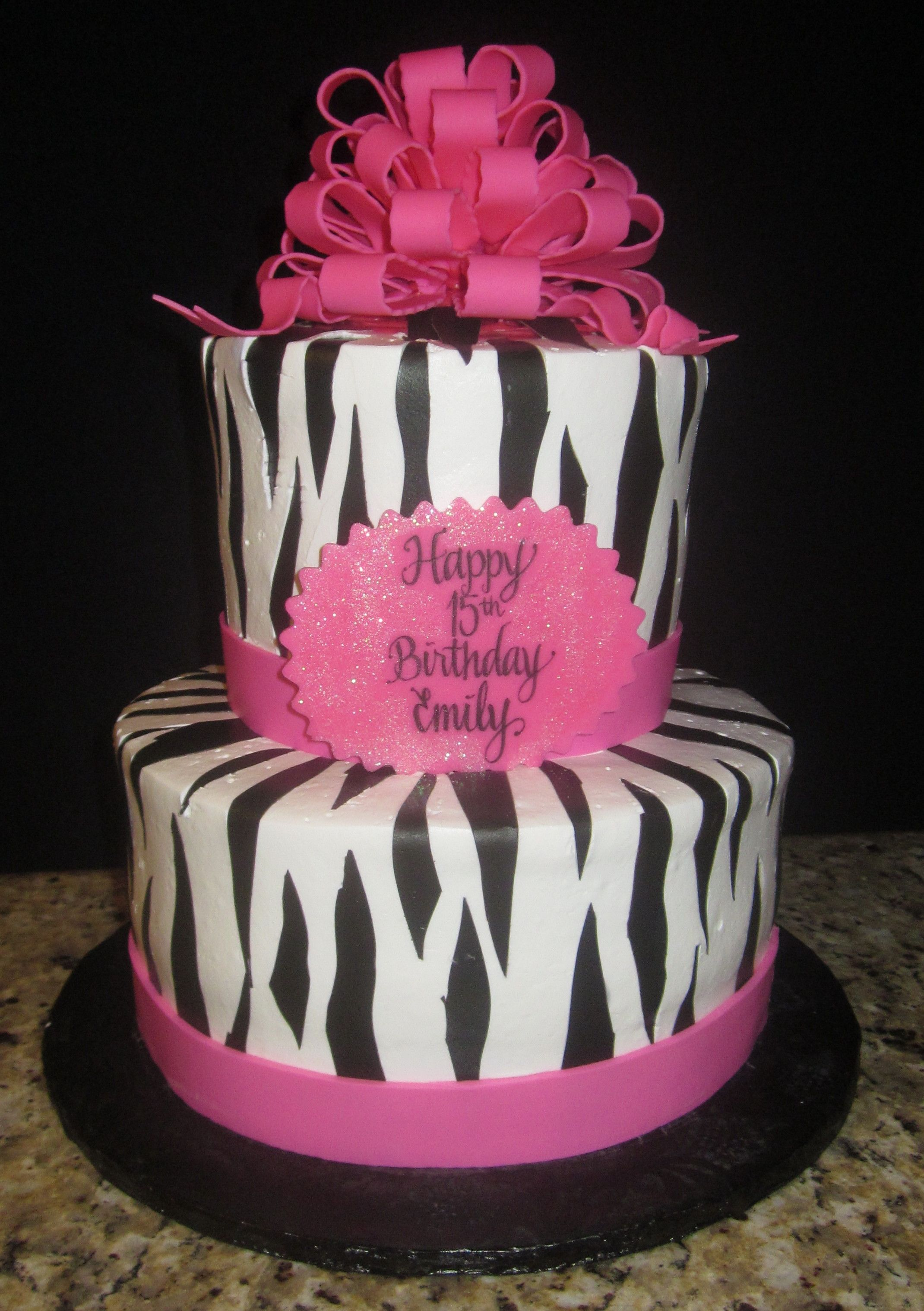 Hot Pink Amp Zebra Birthday Cake