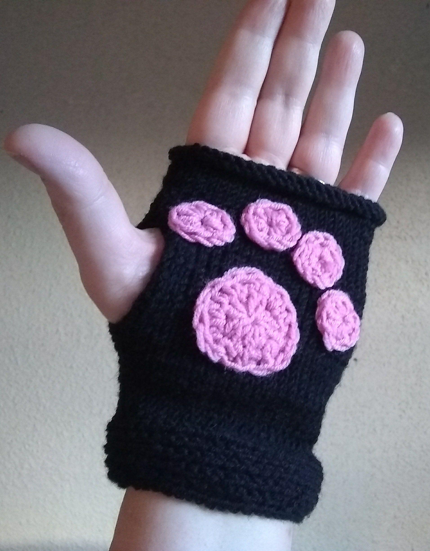 Knitted Kitten Mitts Paw Print Fingerless Gloves Kitten Paw Etsy Wool Fingerless Gloves Fingerless Crochet Gloves