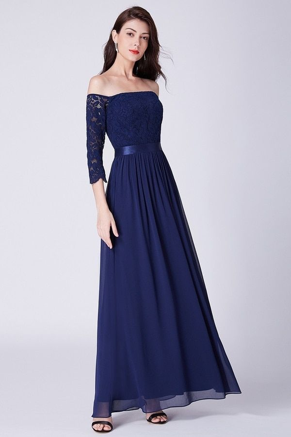 Navy Blue Lace Bridesmaid Dress Off The Shoulder Long Sleeve Bridesmaid Bridesmaid Dresses Long Lace Lace Evening Dress Long Royal Blue Bridesmaid Dress Long