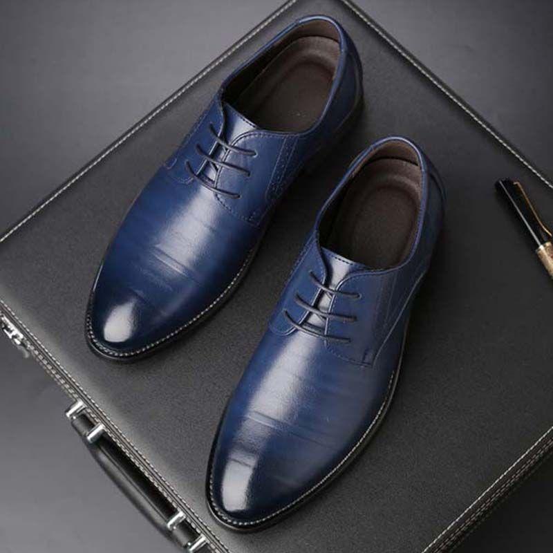Luxury Brand Men Dress Shoes Split Leather Formal Business