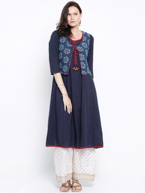 b07376c1f76 Buy Anouk Navy Kurta With Printed Jacket - Kurtas for Women