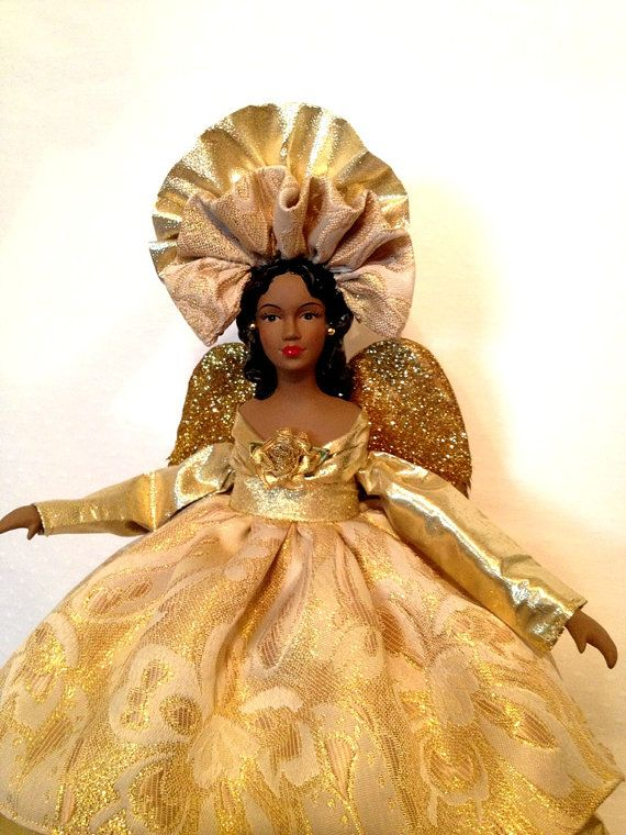 African American Christmas Angel Tree Topper In By Divineangelshop