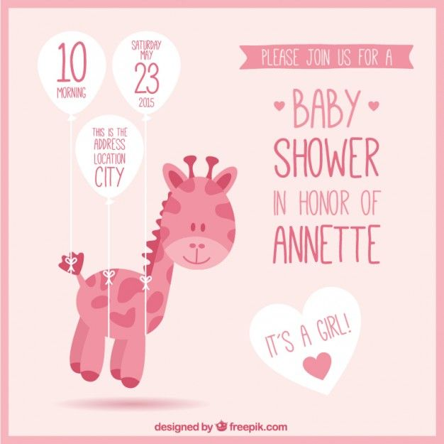 Convite rosa chá de fraldas com uma girafa | Babies, Babyshower and ...