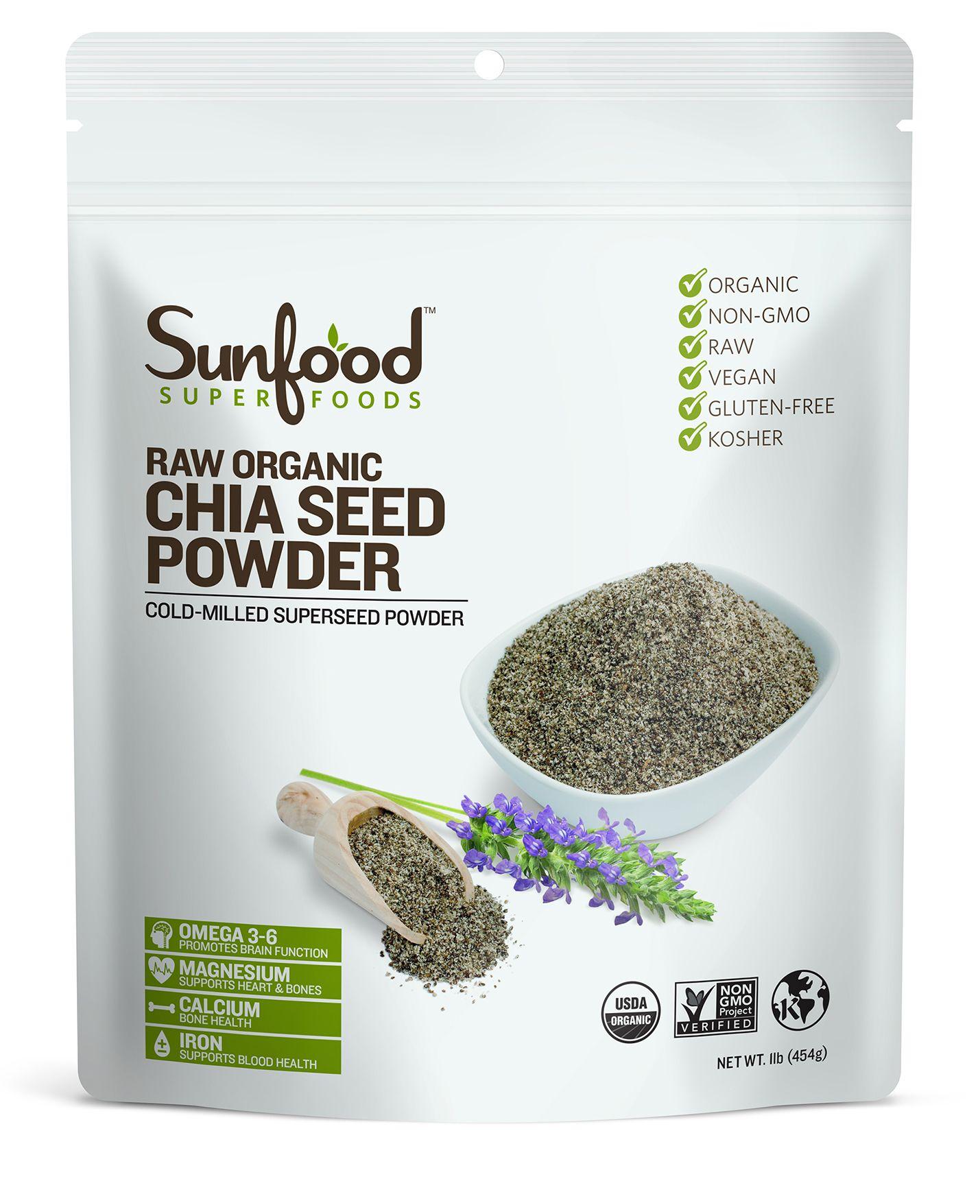 Sunfood Superfoods Organic Chia Seed Powder, 1.0 Lb