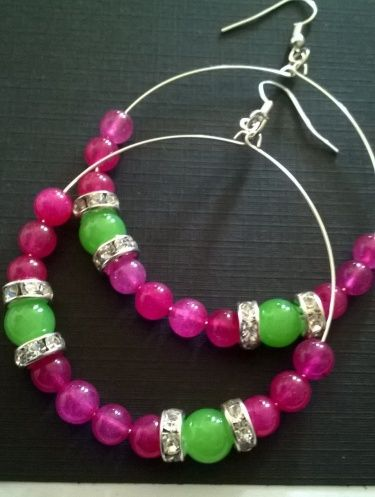 Pink and Green Beaded Hoop Earrings