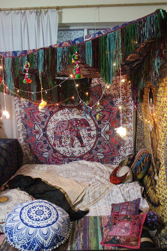 Bohemian Tapestry Family Picnic Elephant Mat Home Dorm Decor Mandala Bedspread