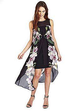 1bbd9feecb6f Wallis Orchid Print Overlayer Dress - Black | Catwalk Queen ...