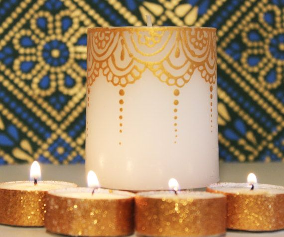 Henna Party Gifts : Gold painted henna design candle wedding favors party