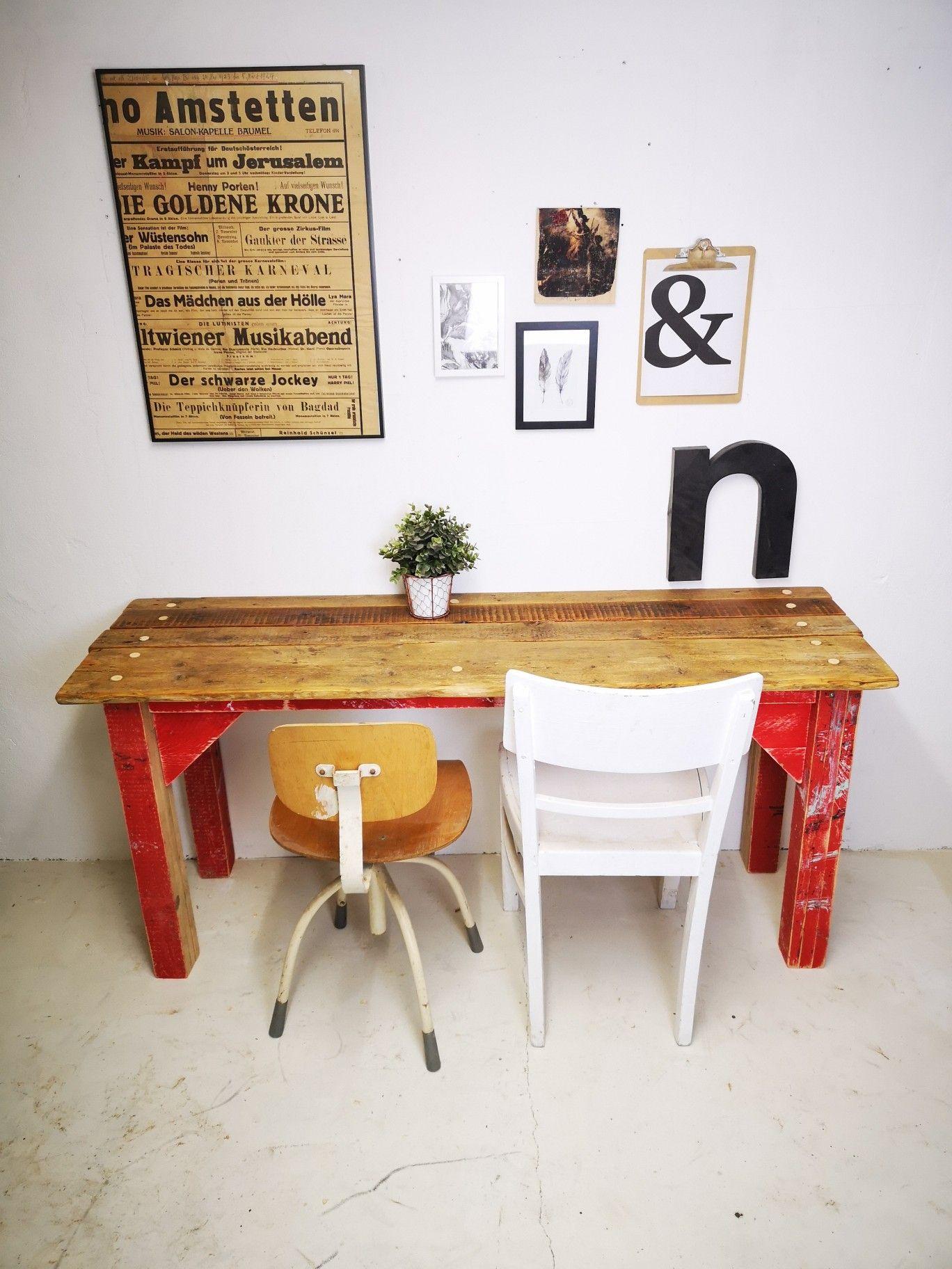 Werktisch Tisch Esstisch Rustikal Loft Industrial Rot Bauholz