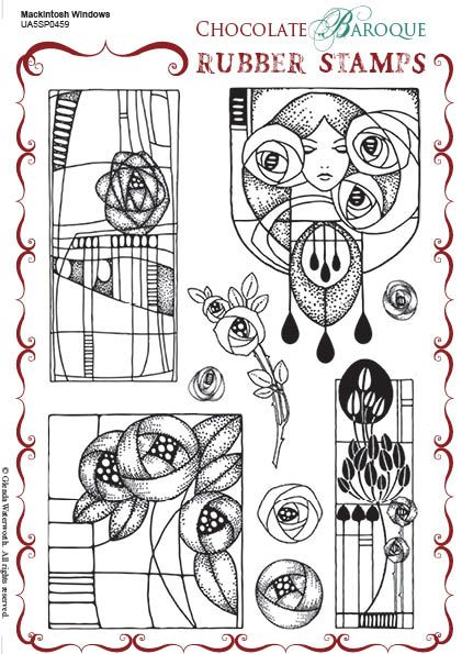 Mackintosh Windows Rubber stamp sheet - A5 #rubberstamping