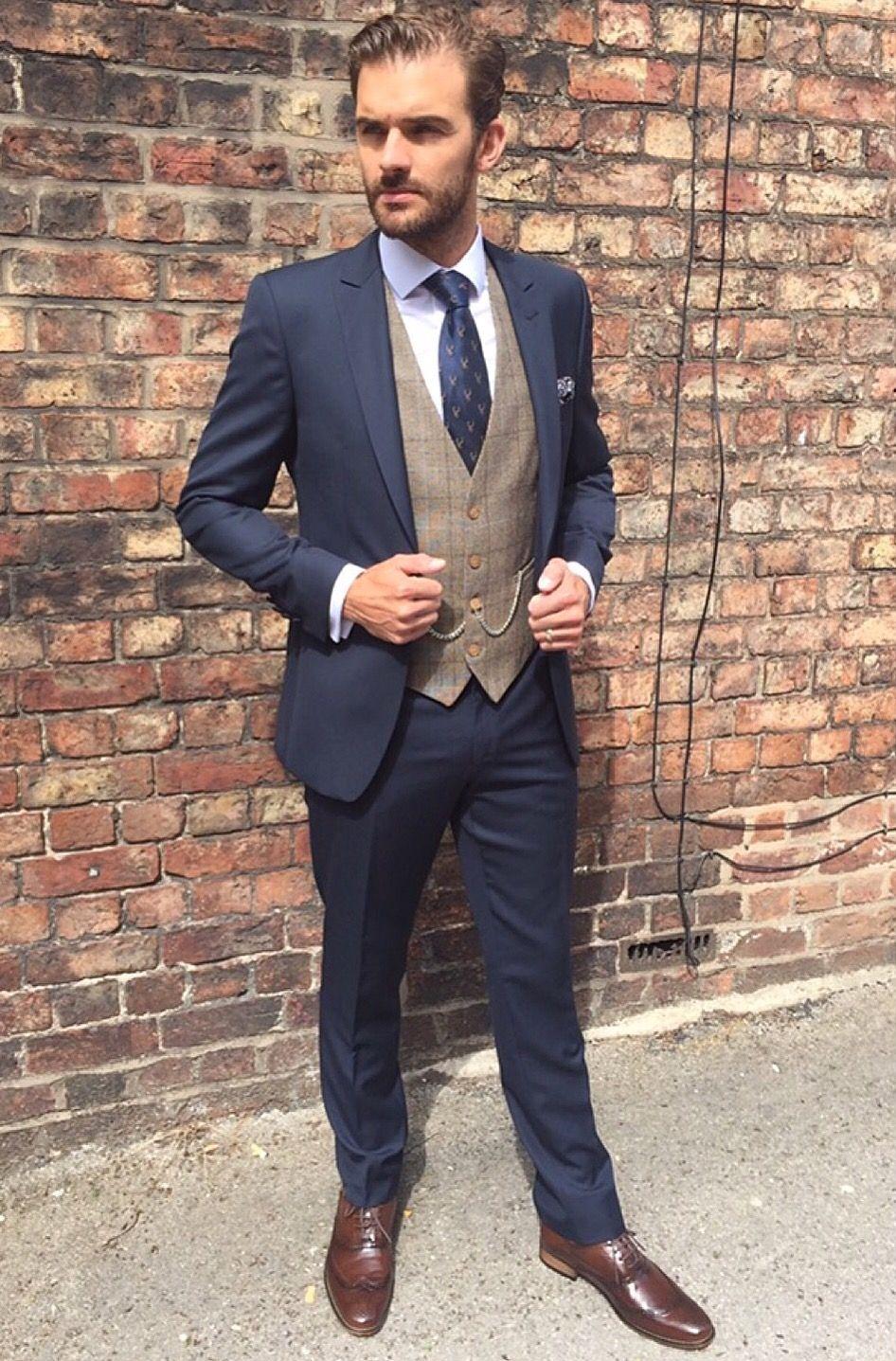 Slim fit Navy suit groom suit brown tweed waistcoat