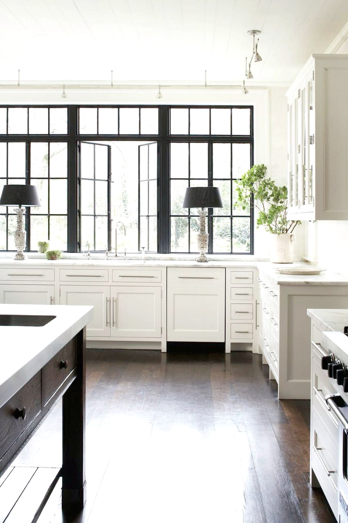 Beautiful White Kitchen With Black Frame Windows Transitional