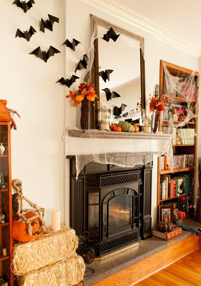 halloween deko fledermäuse wohnzimmer dekorieren kamin   Halloween ...