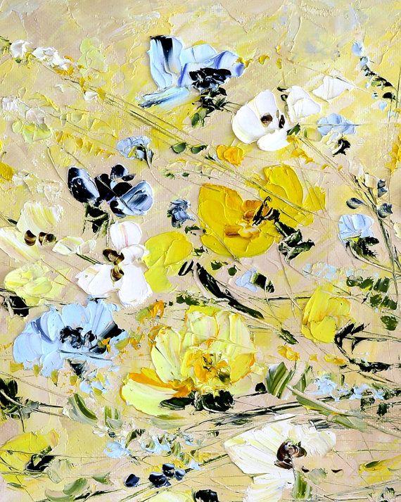 Large Painting Original Art Sand Art Color Yellow Painting Palette ...
