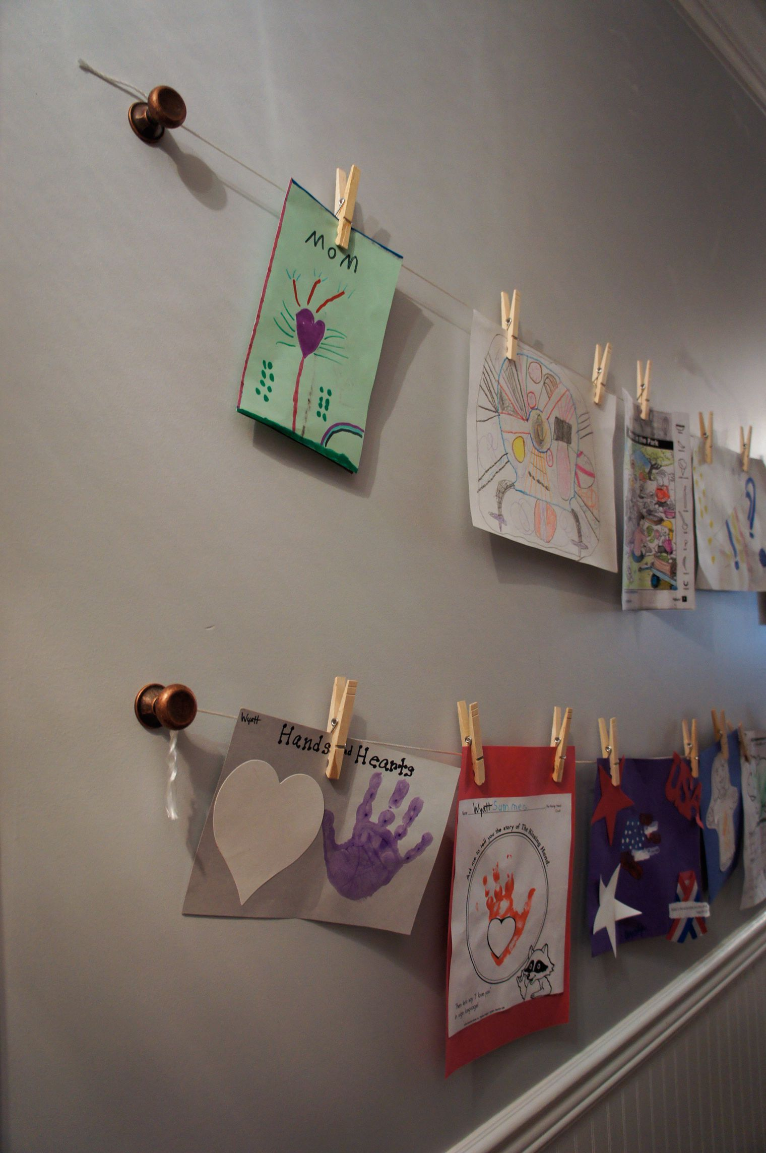 Childs Hallway Art Gallery Display With Knobs, String, Wooden Clothespins