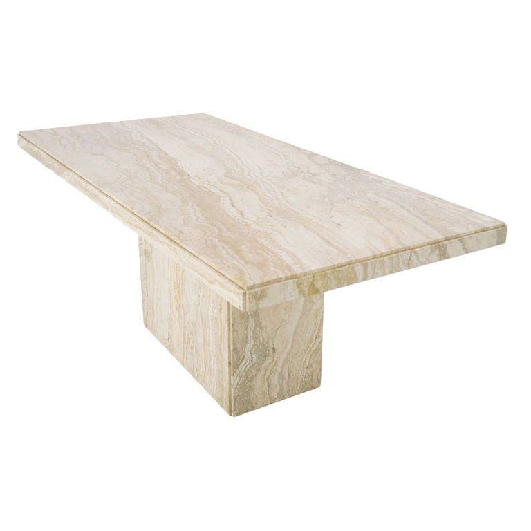 Modern italian marble or travertine pedestal dining table for Marble dining room table