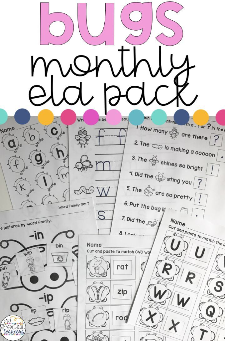 May Language Arts Printables for Special Education