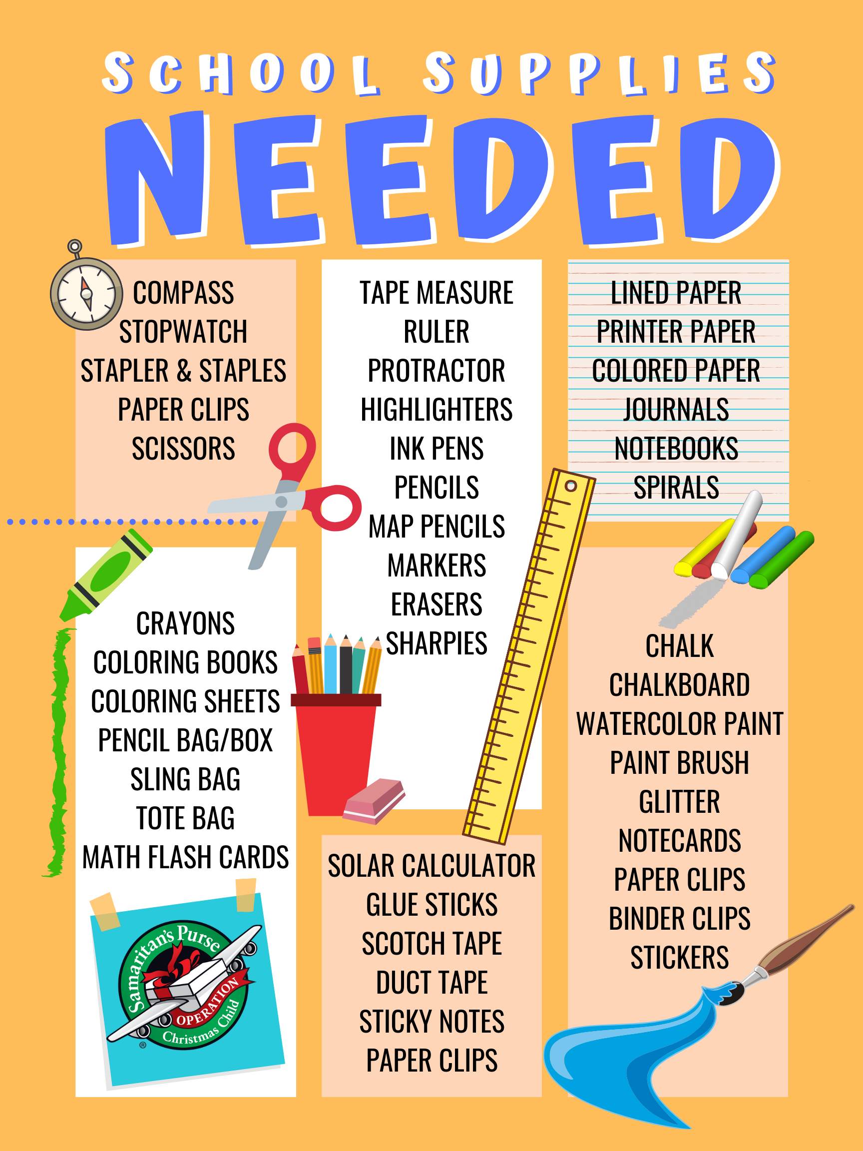 Operation Christmas Child 2019 List.Operation Christmas Child Poster School Supply Donation List