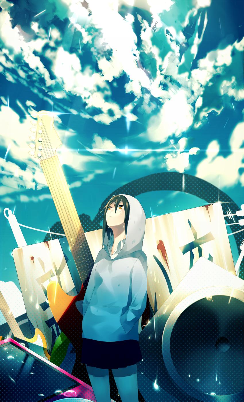 空 音楽 女の子 アニメの風景 イラスト アートのアイデア