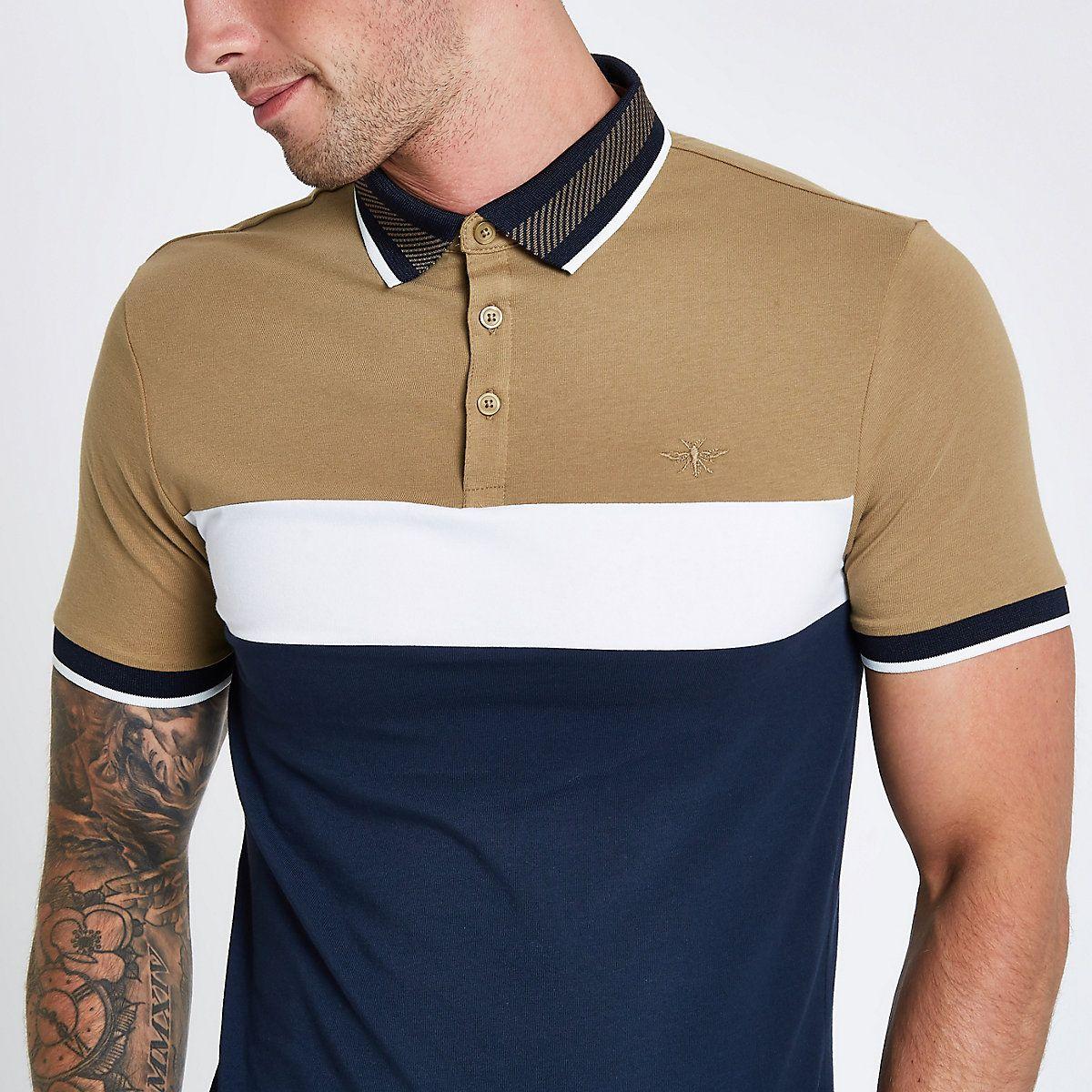 aa50bf2b Navy block print muscle fit polo shirt in 2019 | chaquetas de ...
