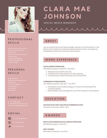 Pink Brown Simple Photo Modern Resume Resume Design Creative Resume Design Resume Design Template