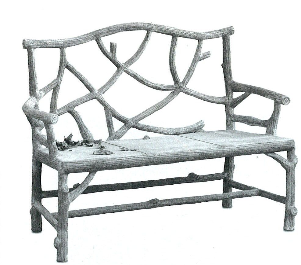 Currey & Company The Woodland Bench with traditional faux bois ...