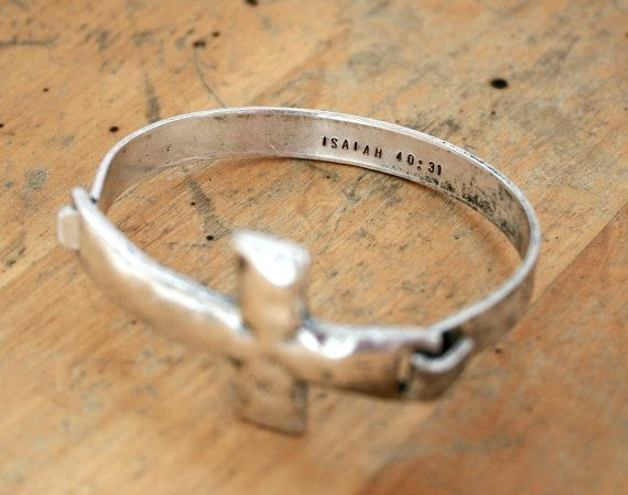 Rustic Style Large Sideways Cross Bangle with Bible by JustJaynes, $19.99