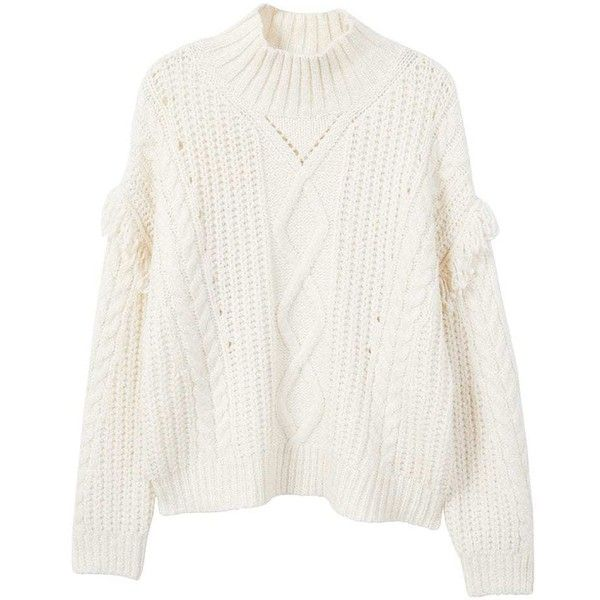 bbe254bf MANGO Fringes cable-knit sweater ($60) ❤ liked on Polyvore featuring tops,  sweaters, ecru, white cable knit sweaters, turtleneck sweater, white  turtleneck ...