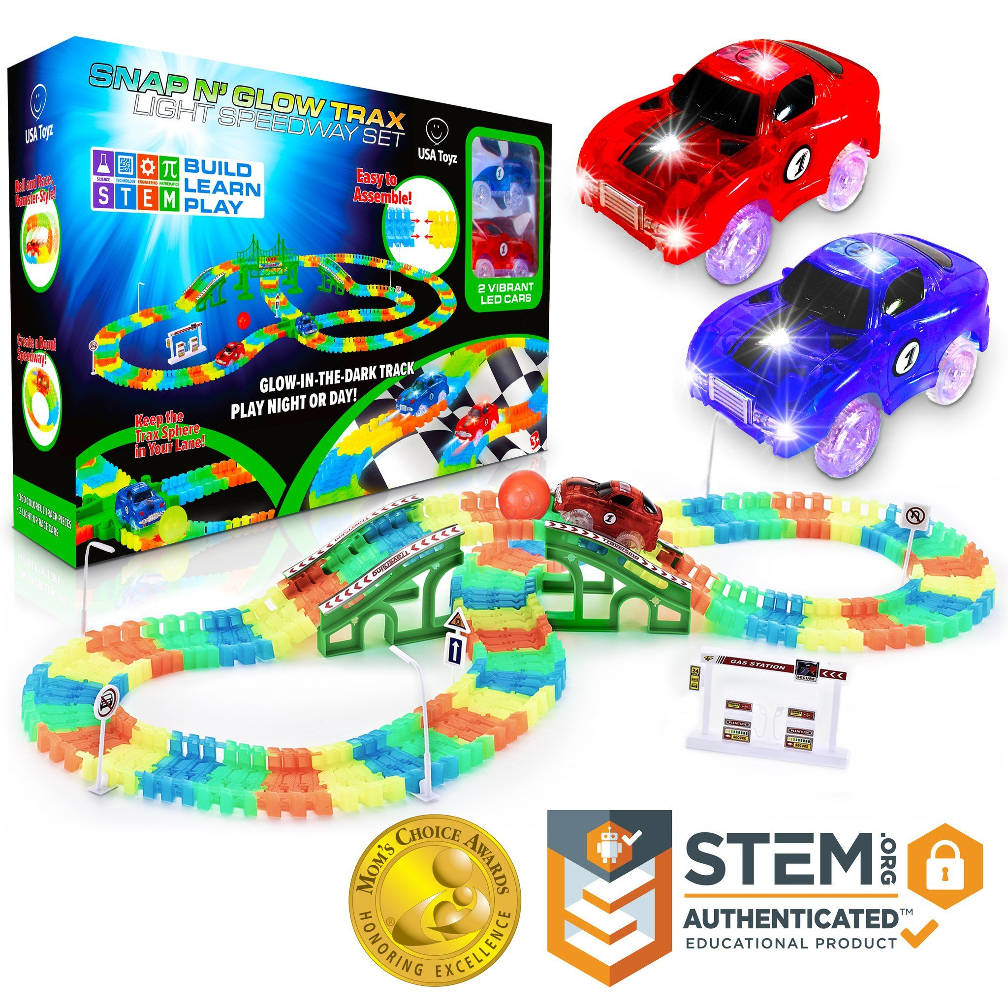 Glow In The Dark Race Car Tracks Set Small In 2020 Led Toy Race Car Track Flexible Track