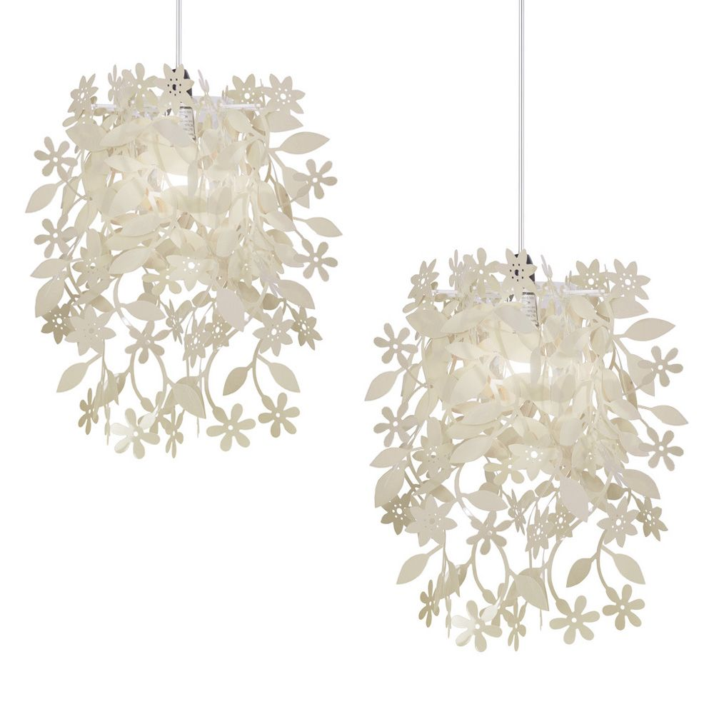 Shabby chic ceiling light tulumsender pair of modern cream shabby chic ceiling light shades chandeliers aloadofball Choice Image