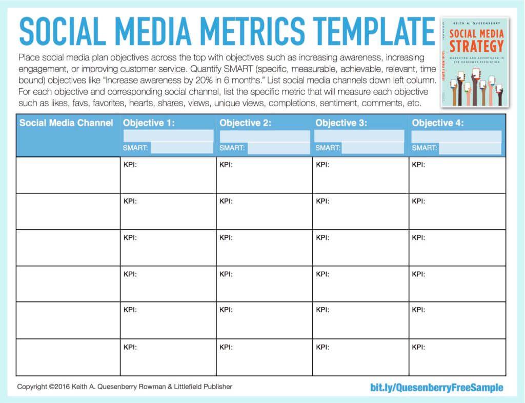 Freesocialmediametricstemplate Social Media Strategy Template Social Media Metrics Social Media Planning