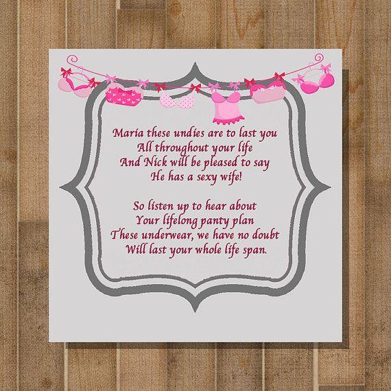 printable bridal shower game bachelorette party game panty poem custom