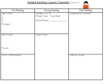 Guided Reading Lesson Plan Template Levels AN  Guided Reading