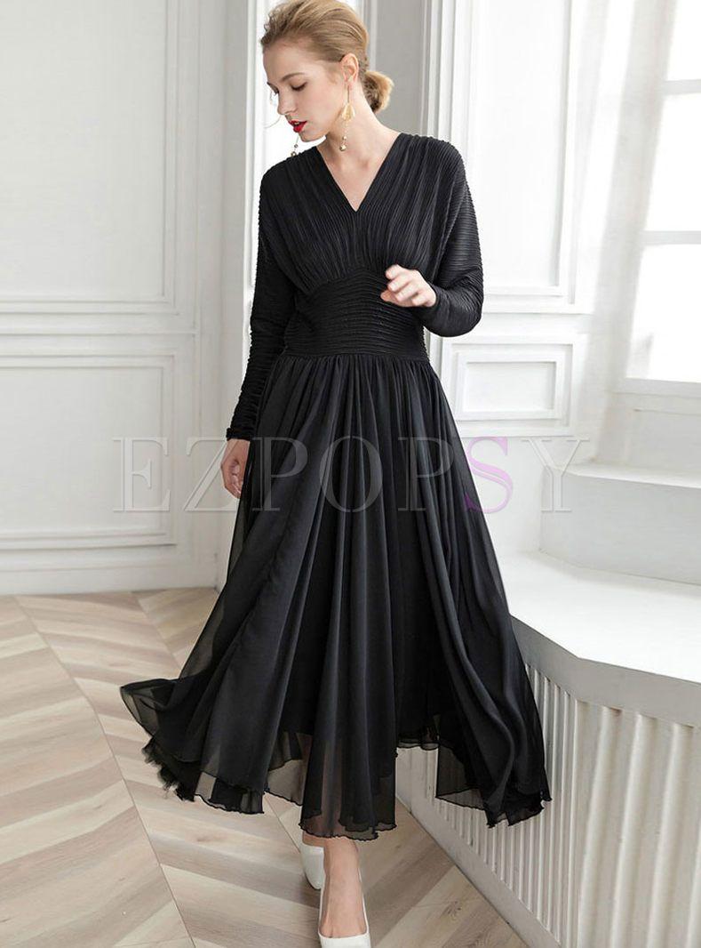 faf3e1492ff Solid Color V-neck Waist A Line Dress in 2019
