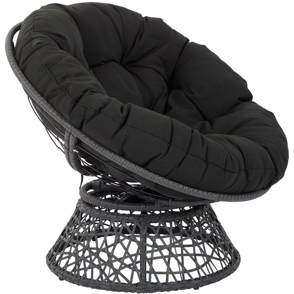 Osp Designs Papasan Metal Amp Wicker Lounge Chair Black