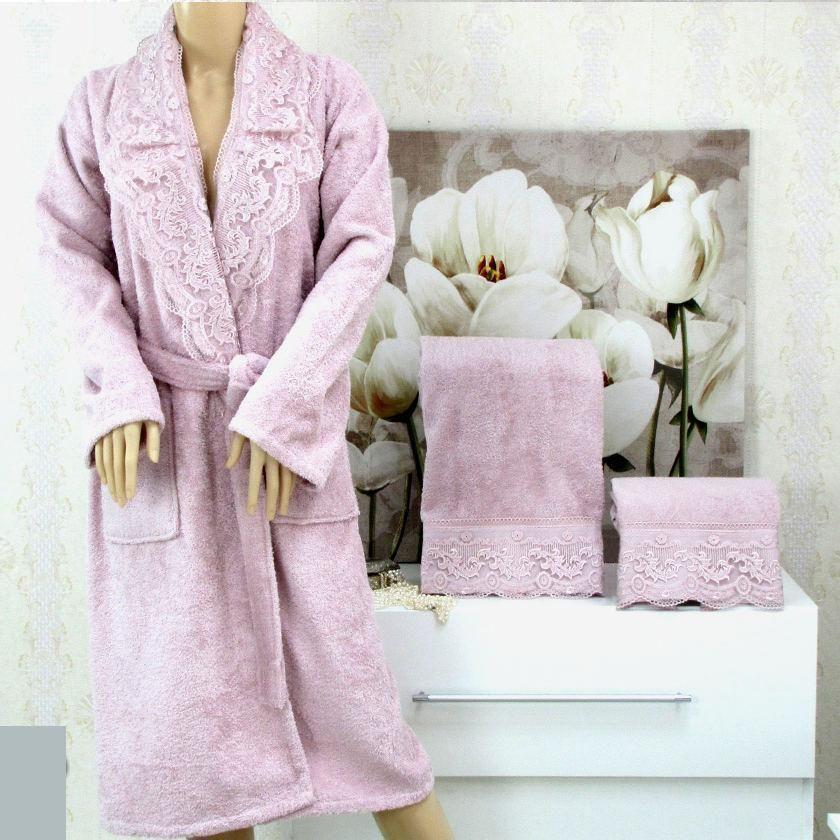 Accappatoio + 2 asciugamani 100% cotone pizzo *Luisa* lilla
