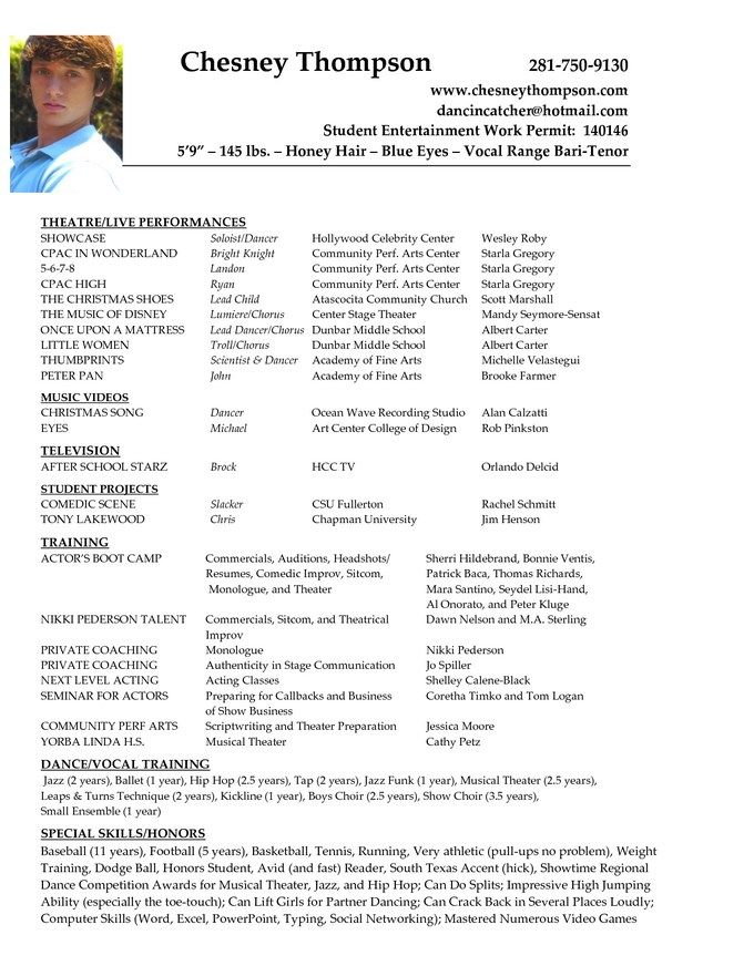 Acting Resume Example For Beginners Acting Resume Resume