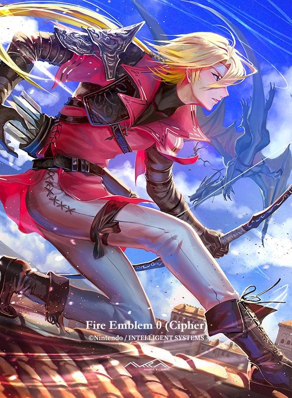 Safebooru 1boy Arrow Artist Name Belt Blonde Hair Boots Copyright Name Dragon Egawa Akira Fire Emblem Fire Emblem Mys In 2021 Fire Emblem Anime Demon Boy Cipher Art