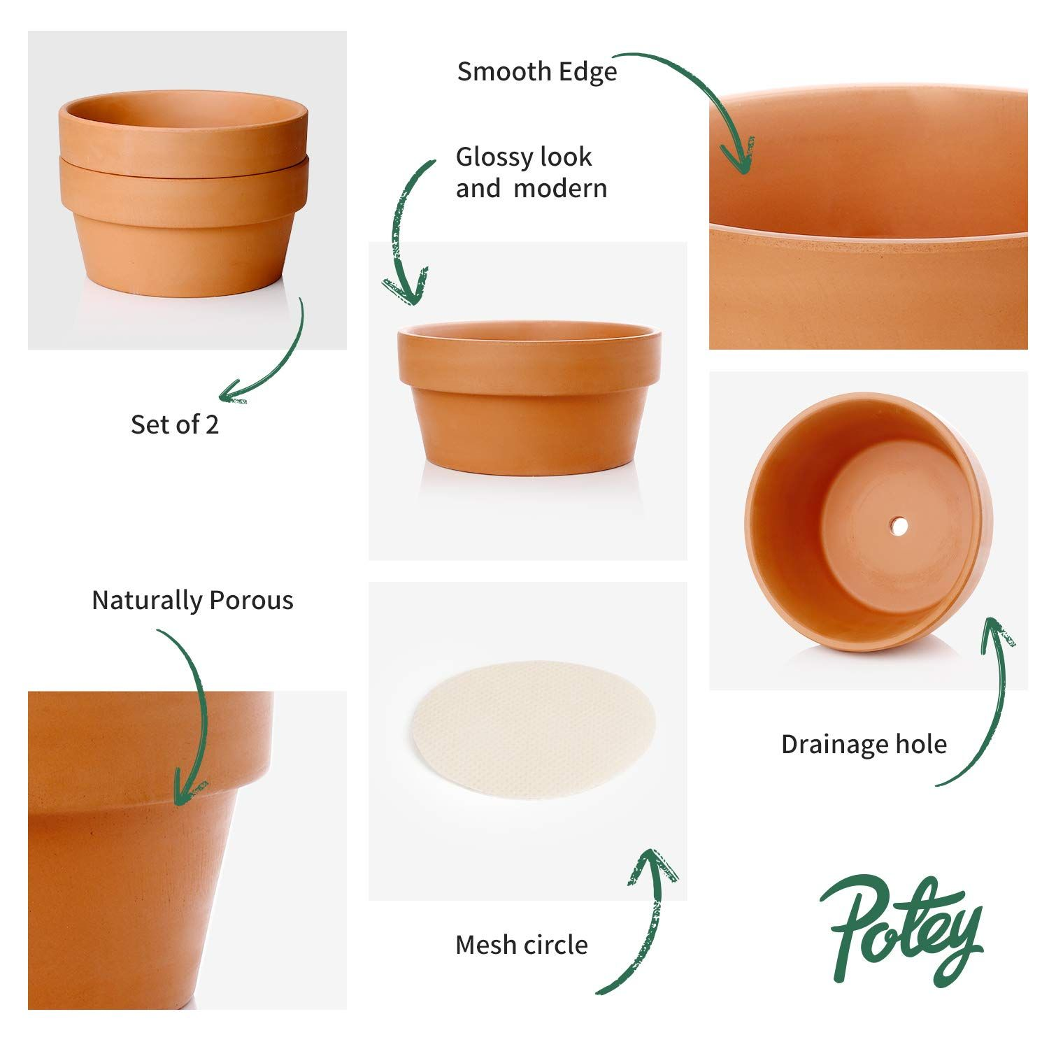 Potey Terracotta Shallow Planters For Succulent 6 1 Inch Cactus Plant Containers Indoor Garden Bonsai In 2020 Shallow Planters Terracotta Plant Pots Container Plants