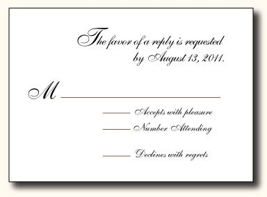 wedding response cards examples