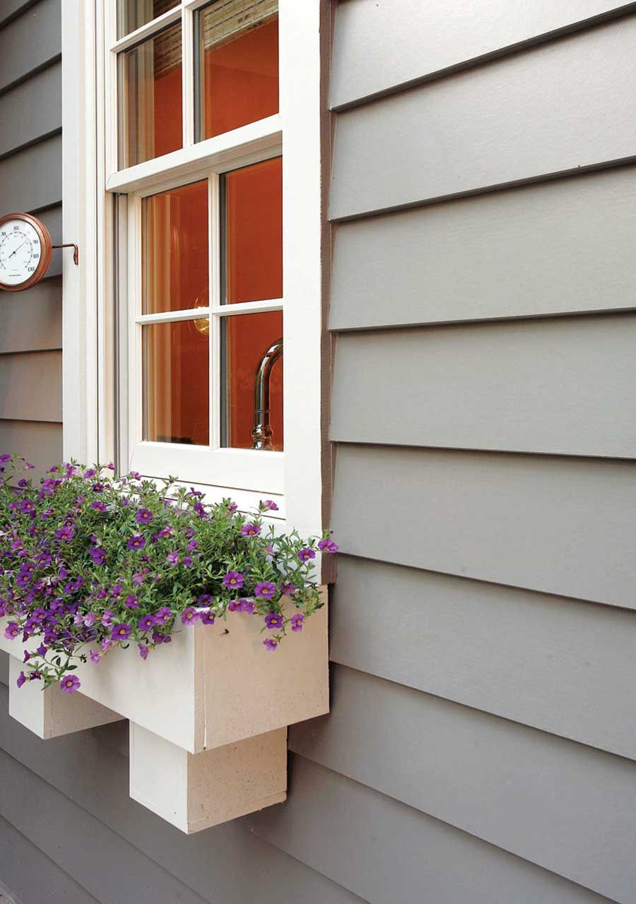 window box trim. this is hardie House exterior, Cement
