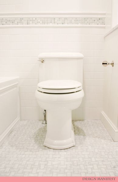 Basketweave Marble Floor With White Subway Tile Walls. And An Integral  Apron Tub That Actually