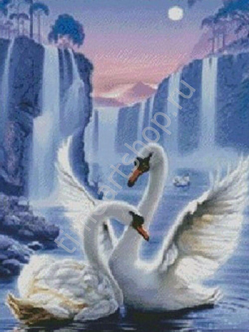 Лебеди у водопада, картина раскраска по номерам, на ...