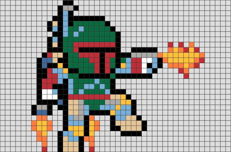 Star Wars Boba Fett Pixel Art Pixel Art Star Wars Boba