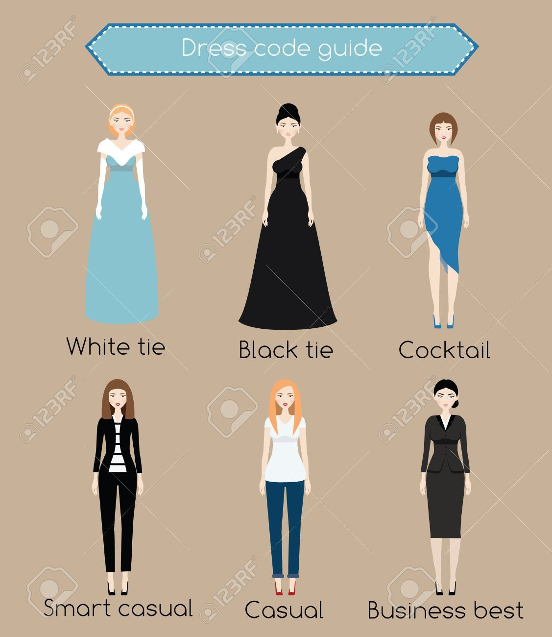 Woman Dress Code Guide Infographic From White Tie To Business Dress Codes Dress Code Guide Black Tie Dress Code Women