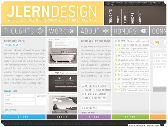 jlern design - something about this site works for me, but something needs some refinement. color palette is nice, i think there may just be too much information but i appreciate the responsive design and interaction.