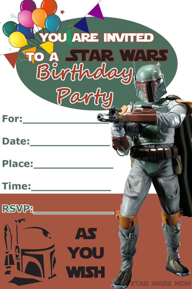 Boba Fett Free Birthday Party Invitation - Star Wars Party | Star ...