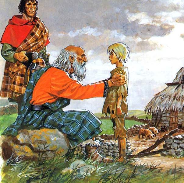 Celt nobleman talks to child who had his home burned by romans